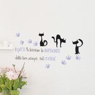 Sticker Words Up S Impronte Gatto 15x31 cm