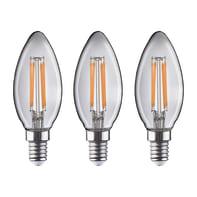 Lampadina LED filamento E14 candela bianco caldo 4.5W = 470LM (equiv 40W) 360° LEXMAN, 3 pezzi