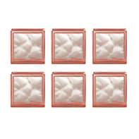 Vetromattone arancione ondulato H 19 x L 19 x Sp 8 cm 6 pezzi