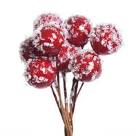 Decorazione per albero di natale Ramo con bacche rosse innevate H 11.5 cm, L 11.5 cmx P 4 cm, Ø 9 cm confezione da 8 pezzi