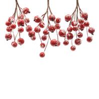 Set 3 rametti con bacche rosse effetto neve H 15 cm, L 6 cmx P 6 cm,  confezione da 3 pezzi