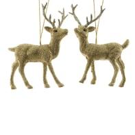 Decorazione per albero di natale Renna in plastica in due versioni assortite oro , L 4 cm x P 8.5 cm