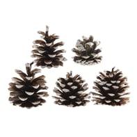 Decorazione per albero di natale Pigne colore naturale effetto innevato H 15 cm,  confezione da 5 pezzi