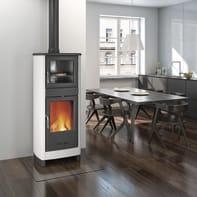 Stufa a legna con forno Savina 8 kW bianco