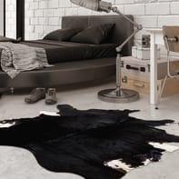 Tappeto Leather cow in cuoio, nero, 140x200 cm