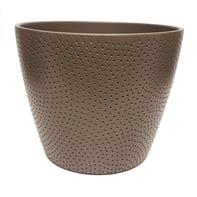Portavaso Ion ALMAS S.A. in ceramica colore tortora H 14 cm, Ø 17 cm
