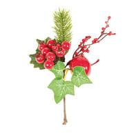 Decorazione per albero di natale Ramo con bacche e funghetto in pvc rossox P 10 cm,