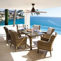 Tavolo da pranzo per giardino rettangolare Classic con piano in vetro L 182 x P 182 cm
