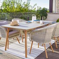 Set tavolo e sedie Malibù in alluminio beige 4 posti