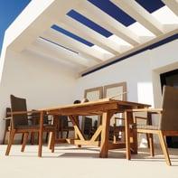 Set tavolo e sedie Quebec in legno marrone 6 posti