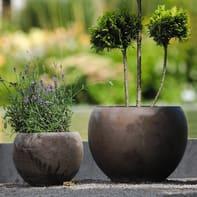 Vaso Luna Basalt in terracotta colore grigio H 17 cm, Ø 23 cm