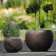 Vaso Luna Basalt in terracotta colore grigio H 19 cm, Ø 26 cm