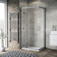 Box doccia scorrevole 100 x 99 cm, H 200 cm in alluminio e vetro, spessore 6 mm serigrafato argento