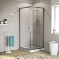 Box doccia quadrato scorrevole Dado 70 x 185 cm, H 185 cm in vetro temprato, spessore 5 mm trasparente cromato