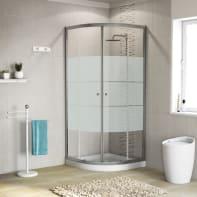 Box doccia stondato scorrevole 80 x 79 cm, H 185 cm in alluminio e vetro, spessore 5 mm serigrafato cromato