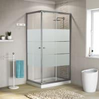 Box doccia rettangolare scorrevole 90 x 90 cm, H 185 cm in alluminio e vetro, spessore 5 mm vetro di sicurezza smerigliato cromato
