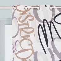 Tenda Graffiti bianco occhielli 140 x 280 cm