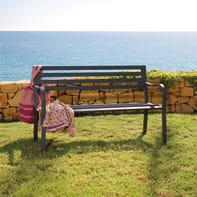 Panca da giardino senza cuscino 3 posti in acciaio Park colore grigio