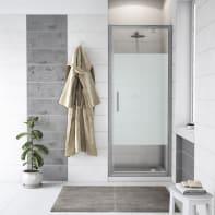 Porta doccia battente Quad 80 cm, H 190 cm in vetro, spessore 6 mm serigrafato cromato