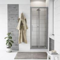 Porta doccia pieghevole Quad 70 cm, H 190 cm in vetro, spessore 6 mm trasparente satinato
