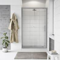 Porta doccia scorrevole Quad 140 cm, H 190 cm in vetro, spessore 6 mm trasparente cromato