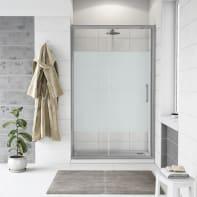 Porta doccia scorrevole Quad 130 cm, H 190 cm in vetro, spessore 6 mm serigrafato satinato