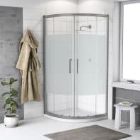 Box doccia semicircolare scorrevole Quad 90 x 90 cm, H 190 cm in vetro temprato, spessore 6 mm serigrafato argento