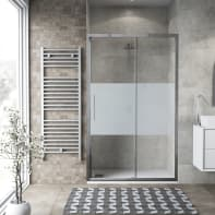 Porta doccia scorrevole Record 120 cm, H 195 cm in vetro temprato, spessore 6 mm serigrafato satinato
