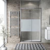 Porta doccia scorrevole Record 121 cm, H 195 cm in vetro temprato, spessore 6 mm serigrafato satinato