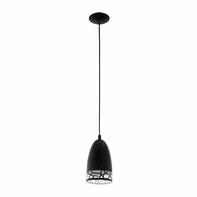 Lampadario Savignano bianco, nero, in metallo, diam. 16 cm, E27 MAX60W IP20 EGLO