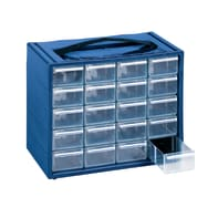 Cassettiera portaminuteria in plastica blu