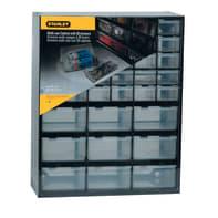 Cassettiera portaminuteria STANLEY 39 cassetti in plastica nero e trasparente