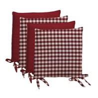 Cuscino per sedia Quadri rosso 40x40 cm