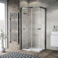 Box doccia scorrevole 70 x 100 cm, H 200 cm in vetro, spessore 6 mm trasparente cromato