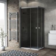 Box doccia scorrevole 70 x 90 cm, H 200 cm in vetro, spessore 6 mm fumé argento
