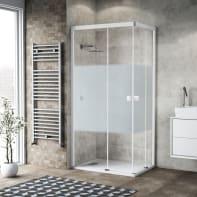 Box doccia scorrevole 80 x 100 cm, H 200 cm in vetro, spessore 6 mm serigrafato bianco