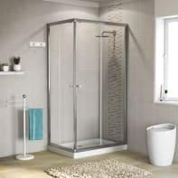 Box doccia rettangolare scorrevole 70 x 90 cm, H 185 cm in alluminio e vetro, spessore 5 mm vetro di sicurezza trasparente cromato