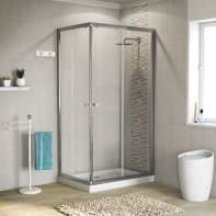 Box doccia rettangolare scorrevole Dado 80 x 100 cm, H 185 cm in vetro temprato, spessore 5 mm trasparente cromato