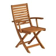 Sedia da giardino senza cuscino pieghevole in legno Porto NATERIAL colore marrone