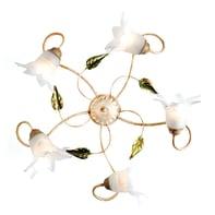 Plafoniera rustico Mirella Eco bianco, in vetro,  D. 49 cm 5  luci