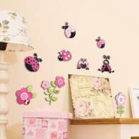Sticker Pink ladybugs 31.5x36 cm