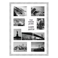 Cornice New York per 10 fotografie 13 x 18 argento<multisep/>bianco