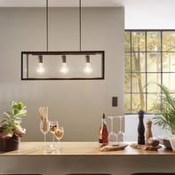 Lampadario Industriale Charterhouse nero, trasparente in acciaio inossidabile, D. 60 cm, L. 73 cm, 3 luci, EGLO