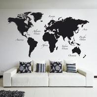 Sticker Giant Wall Worldmap 100x100 cm