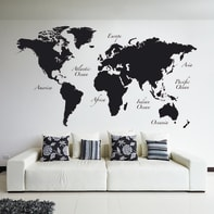 Sticker Sticker Giant Wall Worldmap 100x100 cm