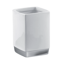 Bicchiere porta spazzolini Lucy in ceramica bianco