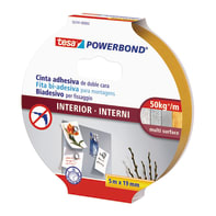 Nastro bi-adesivo TESA TAPE Powerbond interni 5 m x 19 mm bianco