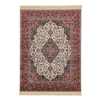 Tappeto persiano Orient farshian medallion in viscosa, rosso, 140x190