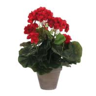 Pianta artificiale Geranio rosso in vaso H 35 cm