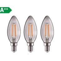 Lampadina LED filamento E14 fiamma bianco naturale 4.5W = 470LM (equiv 40W) 360° LEXMAN, 3 pezzi